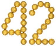 Tal 42, fyrtiotvå, från dekorativa bollar som isoleras på vit Fotografering för Bildbyråer