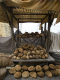 Tal-Hobz. Maltese loaves displayed for sale at a medieval market.  The Maltese sourdough loaf is considered to be one of the best breads in the world Royalty Free Stock Photography
