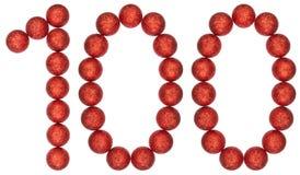Tal 100, hundra, från dekorativa bollar som isoleras på whi Arkivbild