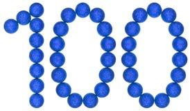 Tal 100, hundra, från dekorativa bollar som isoleras på whi Royaltyfri Bild