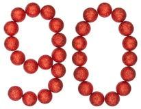 Tal 90, nittio, från dekorativa bollar som isoleras på vitbac Arkivbilder