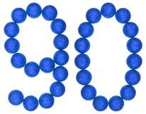 Tal 90, nittio, från dekorativa bollar som isoleras på vitbac Arkivfoton