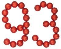 Tal 93, nittiotre, från dekorativa bollar som isoleras på wh Royaltyfria Foton
