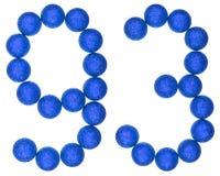 Tal 93, nittiotre, från dekorativa bollar som isoleras på wh Royaltyfri Foto
