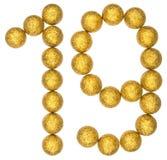 Tal 19, nitton, från dekorativa bollar som isoleras på vit b Royaltyfri Fotografi