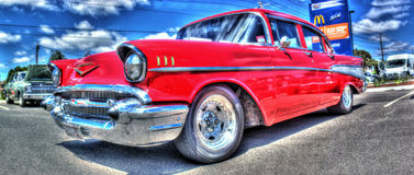 50-tal röda Chevy Arkivfoton