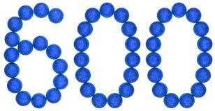 Tal 600, sexhundra, från dekorativa bollar som isoleras på whi Royaltyfria Bilder