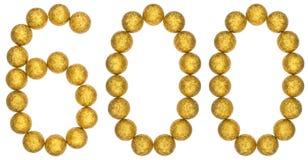 Tal 600, sexhundra, från dekorativa bollar som isoleras på whi Fotografering för Bildbyråer