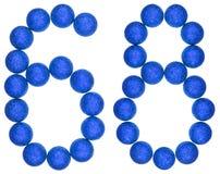 Tal 68, sextioåtta, från dekorativa bollar som isoleras på whit Arkivbild