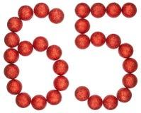 Tal 65, sextiofem, från dekorativa bollar som isoleras på vit Royaltyfri Foto