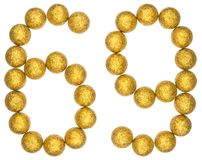 Tal 69, sextionio, från dekorativa bollar som isoleras på vit Royaltyfri Fotografi