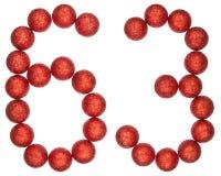 Tal 63, sextiotre, från dekorativa bollar som isoleras på whit Royaltyfri Foto