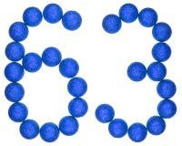 Tal 63, sextiotre, från dekorativa bollar som isoleras på whit Royaltyfri Bild