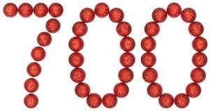 Tal 700, sjuhundra, från dekorativa bollar som isoleras på w Royaltyfri Foto