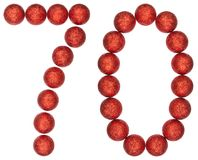 Tal 70, sjuttio, från dekorativa bollar som isoleras på vita lodisar Royaltyfri Bild