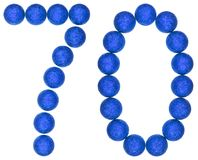 Tal 70, sjuttio, från dekorativa bollar som isoleras på vita lodisar Arkivfoton