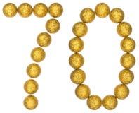 Tal 70, sjuttio, från dekorativa bollar som isoleras på vita lodisar Fotografering för Bildbyråer