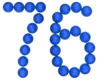 Tal 76, sjuttiosex, från dekorativa bollar som isoleras på whit Royaltyfria Bilder