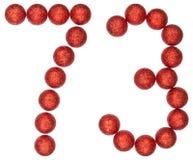 Tal 73, sjuttiotre, från dekorativa bollar som isoleras på wh Arkivfoto