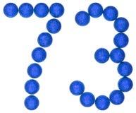 Tal 73, sjuttiotre, från dekorativa bollar som isoleras på wh Arkivbild