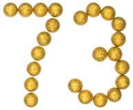 Tal 73, sjuttiotre, från dekorativa bollar som isoleras på wh Royaltyfri Foto
