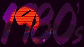 80-tal som eighties betitlar logo med en retro dataspel, fyllde text royaltyfri illustrationer