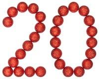Tal 20, tjugo, från dekorativa bollar som isoleras på vitbac Fotografering för Bildbyråer