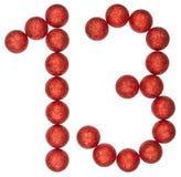 Tal 13, tretton, från dekorativa bollar som isoleras på vit b Arkivbild