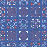 50-tal utformar den Retro modellen för vektorn för patchworktäcket sömlösa Folk blom- damast vektor illustrationer