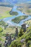Tal von Chulyshman, Akkurum, Altai Russland Lizenzfreies Stockbild