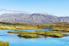 Tal von Oxara-Fluss in Nationalpark Thingvellir Stockbild