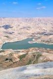 Tal von Wadi-Al Mujib Fluss und von Verdammung, Jordanien - 3 Stockbild