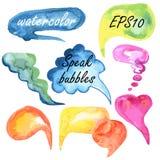 Tala bubblavattenfärguppsättningen Arkivbilder