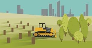 Tala de árboles con la niveladora amarilla Ilustración del vector Imagen de archivo libre de regalías