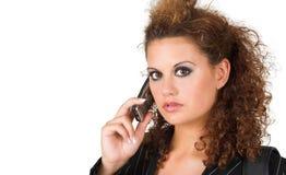 tala för telefon för affärscelllady Royaltyfri Bild