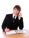 tala för telefon för affärscellman Royaltyfri Fotografi
