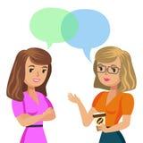 tala två unga kvinnor Mötekollegor eller vänner vektor royaltyfri illustrationer