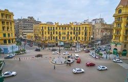 Talaat Harb广场,开罗,埃及全景  免版税图库摄影