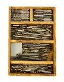 Taladros del funcionamiento del vintage en el fondo blanco Imagen de archivo