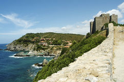 The Talamone castle. And the tuscany coast Stock Image