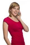 talande barn för flickatelefon Arkivbilder