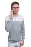 talande barn för mantelefon Arkivbild