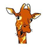Talande giraffheadshot för rolig tecknad film Sinnesrörelseframsida av en giraff Arkivfoton