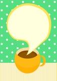Talande kort för inbjudan för kaffekopp Arkivfoton
