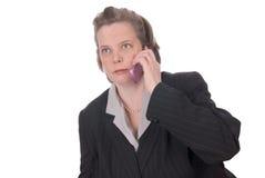 talande kvinna för celltelefon Royaltyfri Bild