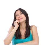 talande kvinna för kontorstelefon Arkivfoto