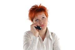 talande kvinna för mobil telefon arkivfoton