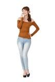 talande kvinna för mobiltelefon Royaltyfri Foto