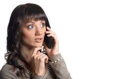 talande kvinna för telefon Royaltyfri Bild