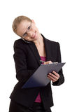 talande kvinna för affärscelltelefon Arkivfoton